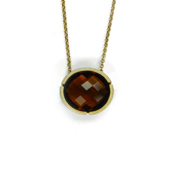 Lindenau Topaz Pendant Brown Topaz Yellow Gold Plated