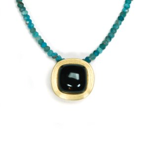 Lindenau Onyx Apatite Necklace Yellow Gold Plated