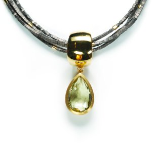 Lindenau Quartz Haematite Necklace Yellow Gold Plated
