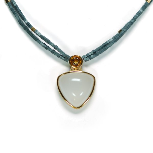 Lindenau Quartz Citrine Necklace Yellow Gold Plate Haematite