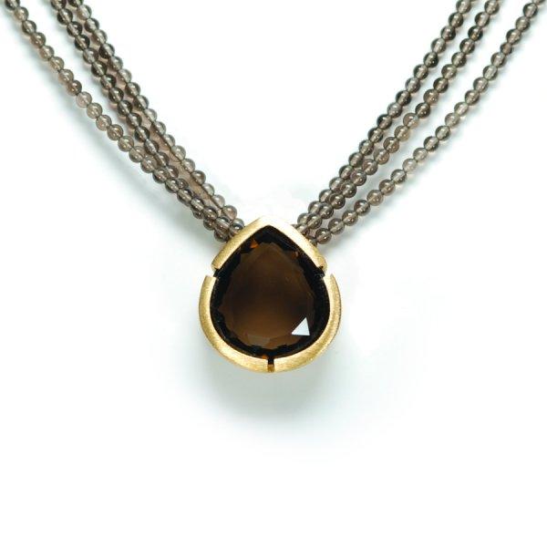 Lindenau Quartz Necklace Yellow Gold Plated
