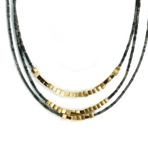 Lindenau Haematite Necklace Yellow Gold Plated