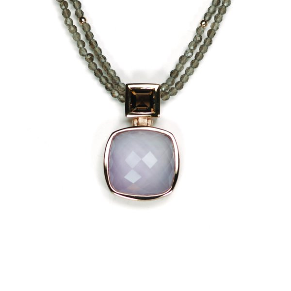 Lindenau Quartz Amethyst Necklace Rose Gold Plate