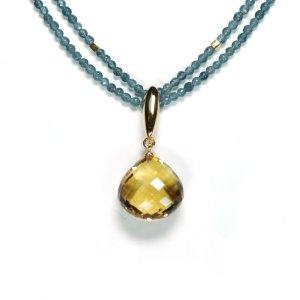 Lindenau Jadeite Citrine Necklace Yellow Gold Plated