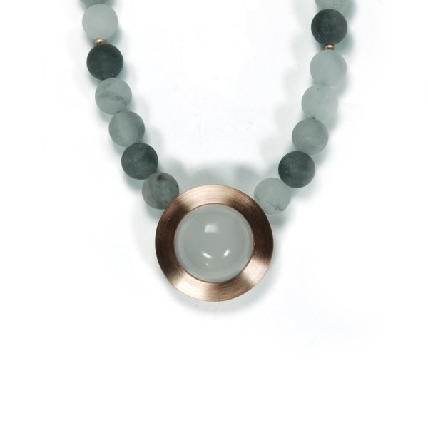 Lindenau Quartz Necklace Milky and Grey Quartz Rose Gold Plated