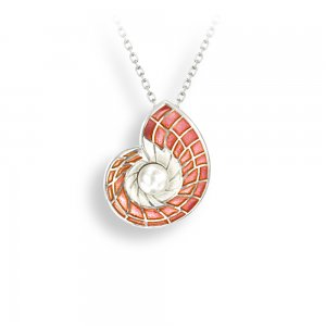Nicole Barr Silver Necklace Nautilus Shell