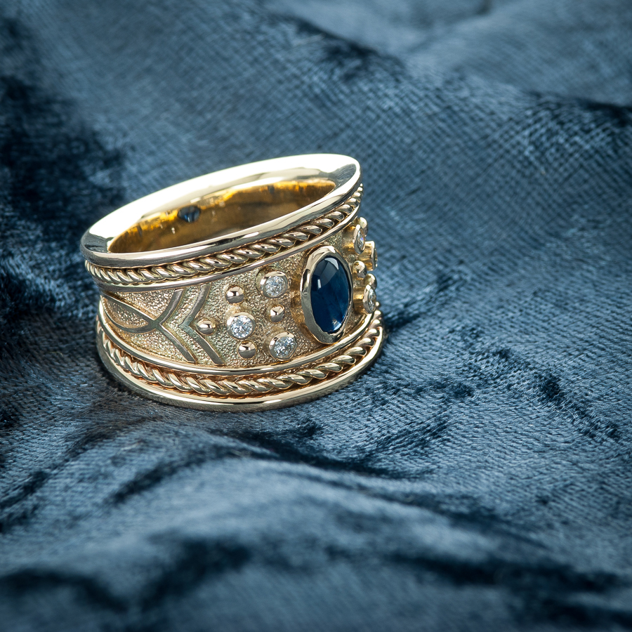 ROSH Sapphire Etruscan Ring